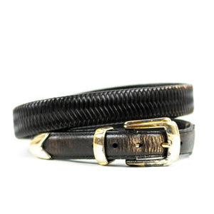 Other - Vintage Black Leather Belt with Gold color buckle